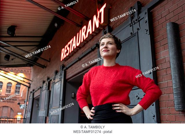 Germany, Berlin, portrait of confident restaurant manager outdoors
