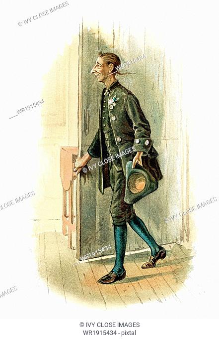 Ichabob Crane, pictured here, in this 1892 illustration, was the main character in the American author Washington Irving's short story titled The Legend of...