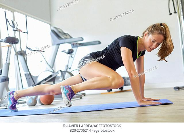Pilates, woman training in gym