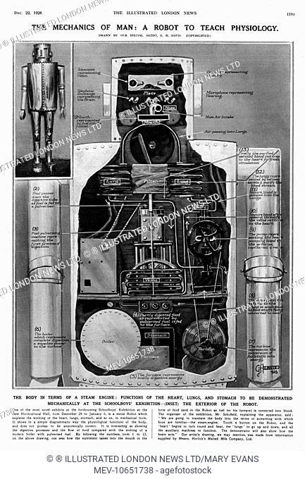 One of the novel exhibits on display at the Schoolboys' Exhibition at the New Horticultural Hall, London in the Winter of 1928-9; a metal robot which explained...