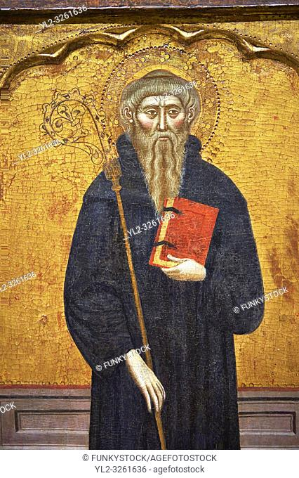 Gothic painted Panel Altarpiece of Saint Anthony the Abbot by Master of Rubio. Tempera and gold leaf on wood. Circa 1360-1375. Dimensions 173. 5 x 176