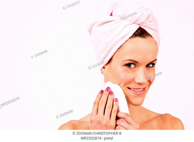 Smiling Attractive Female Model Bare Skin Shower Towel Drying