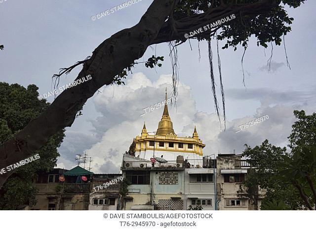 View of Wat Saket (The Golden Mount) in Bangkok, Thailand