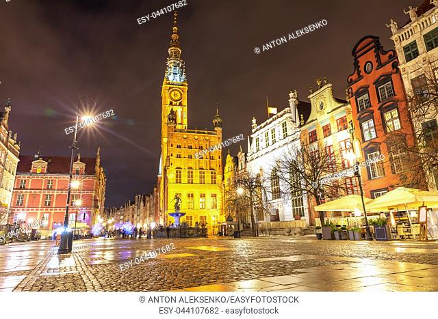 Gdansk Town Hall and the Fountain of Neptune in Long market, evening view