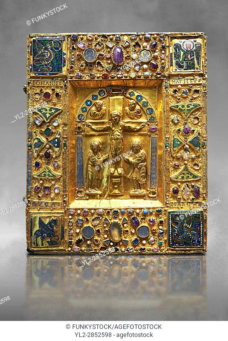 Medieval gilded manuscript cover depicting the Crucifixion. 11th century from the treasury of the Cathedral of Maastricht. AD