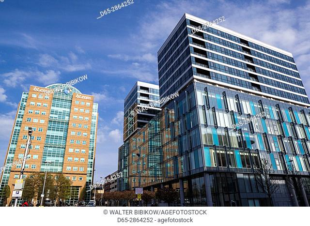 UK, Northern Ireland, Belfast, office buildings at Lanyon Place