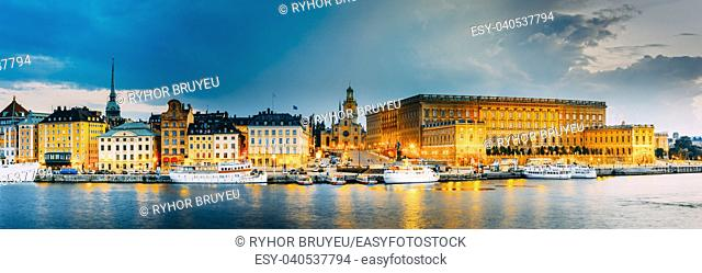 Stockholm, Sweden. Scenic View Of Embankment In Old Part Of Stockholm At Summer Evening, Sweden. Panorama. Famous Cityscape At Sunset Time