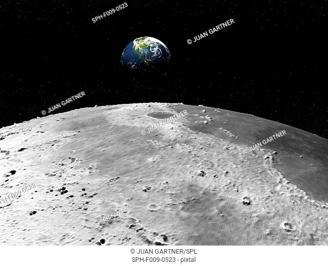 Artwork of the earth as seen from the moon