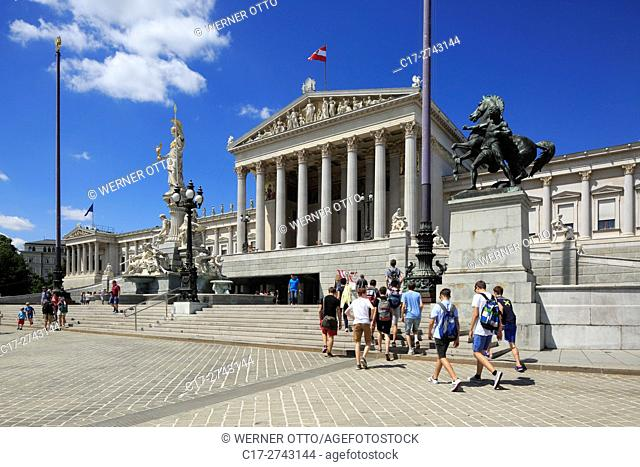 Austria, A-Vienna, Danube, Federal Capital, Austrian Parliament Building at the Dr. -Karl-Renner-Ring, Vienna Ring Road, classicism, Neoclassicism