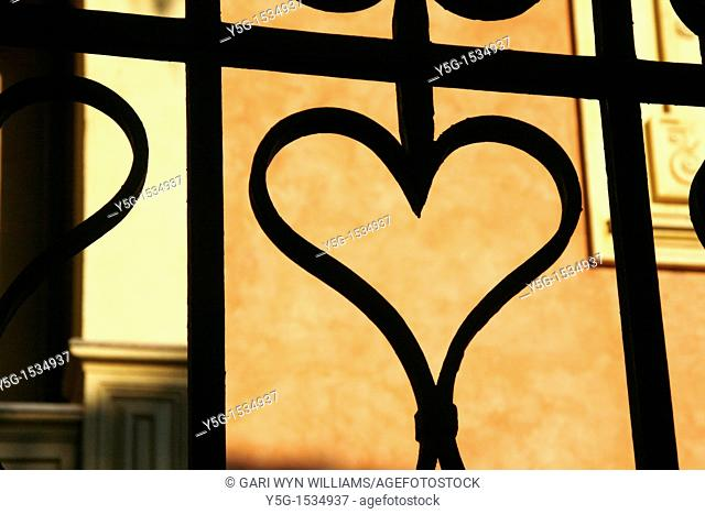 heart shape on metal steel fence gate