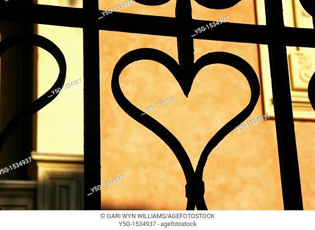 heart shape on metal steel fence gate