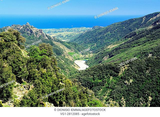 Aspromonte, Buonamico valley of the river, in the background Ionian Sea Ionian coast, San Luca, District of Reggio Calabria, Calabria, Italy, Europe