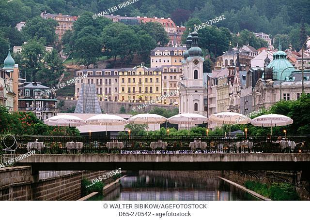Canal in Tepla River. Karlovy Vary. Czech Republic