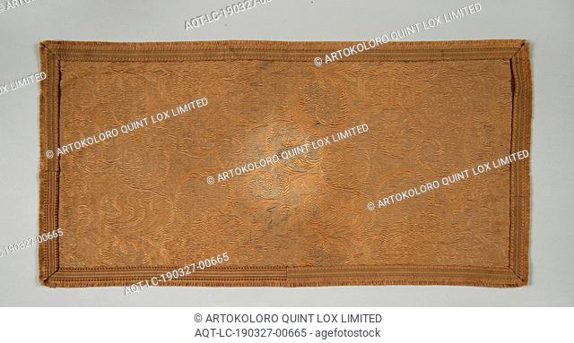 European: Table Scarf, European, Early 20th century, Silk and cotton or bast, Overall: 17 1/8 x 34 1/4 in. (43.5 x 87 cm)