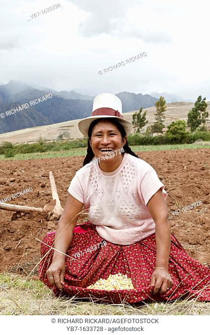 Peruvian Lady in a Top Hat,showing the corn that she was planting  Chinchero,Peru