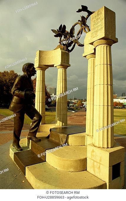 Atlanta, GA, Georgia, Centennial Olympic Park, Gateway of Dreams sculpture, Baron Pierre de Coubertin, statue