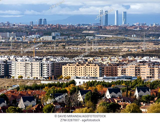 View of the city of Madrid from Rivas-Vaciamadrid. Madrid. Spain