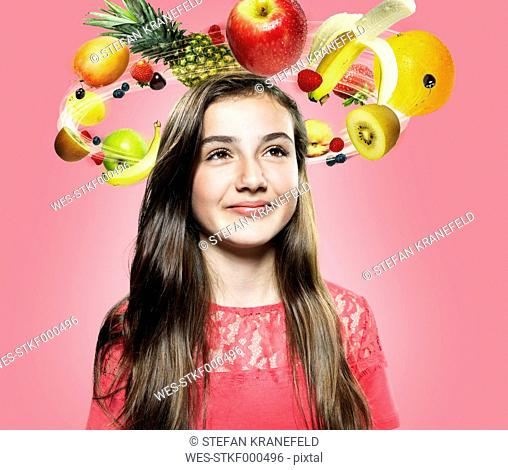 Girl with flying fruits around her head, Composite