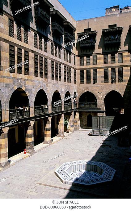 Egypt, Cairo, Khan al-Khalili, Al-Ghouri, courtyard of medieval wikala or caravanserai