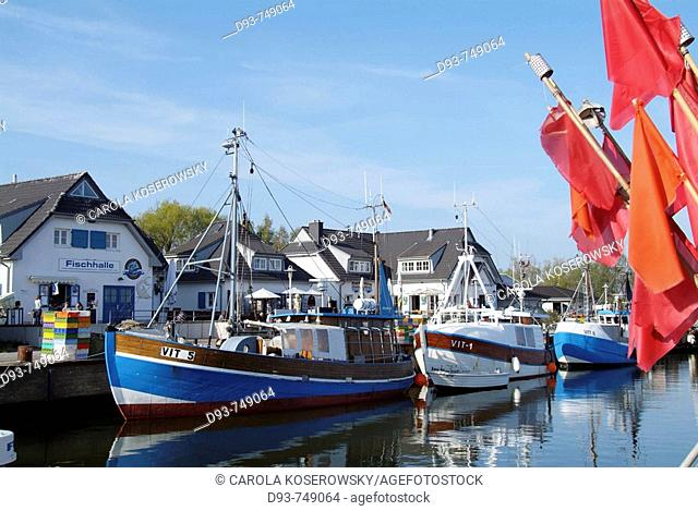 D, Germany, Mecklenburg Western Pomerania, Hiddensee, Isle, Baltic Sea, Vitte, Harbour, Building, Buildings, Boats, Flags, Fishing, Ship, Fishing Boats