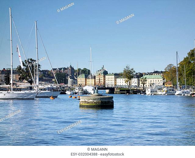 An image of the harbor in Stockholm