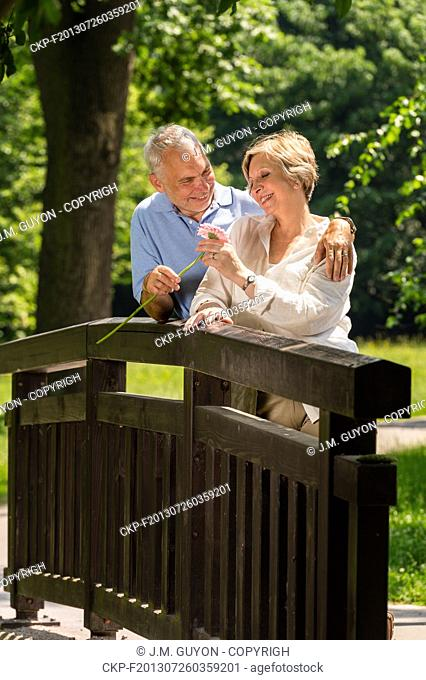 Elderly man giving her smiling wife a flower