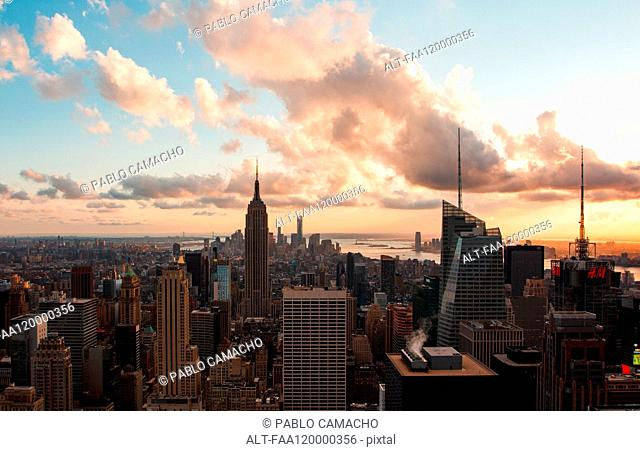 View of Empire State building with modern cityscape
