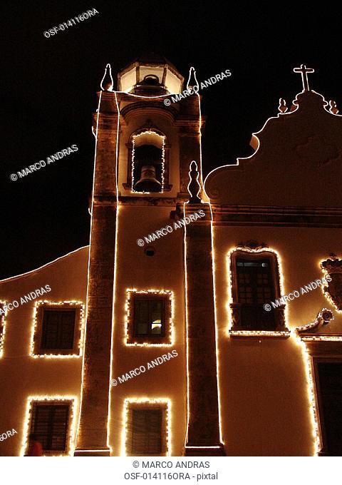 pernambuco buildings lighted at christmas time