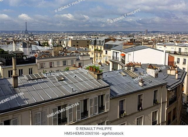France, Paris, the city view from the heights of Montmartre, the Eiffel Tower in the background