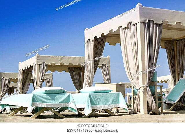 Private beach equipped with tents and deckchairs in Versilia Italy