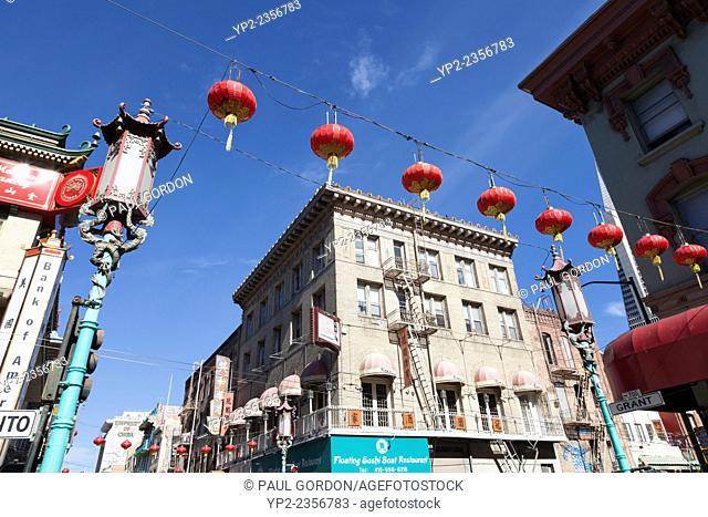 Rows of lanterns along Grant Avenue in Chinatown - San Francisco, San Francisco County, California, USA