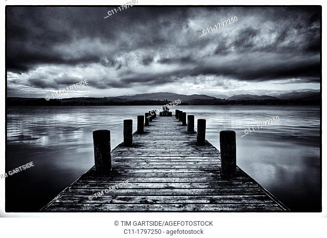 old jetty, lake windermere, lake district, cumbria, england, uk, europe