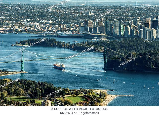 Burrard Inlet and Lions Gate Bridge, Vancouver, BC, Canada