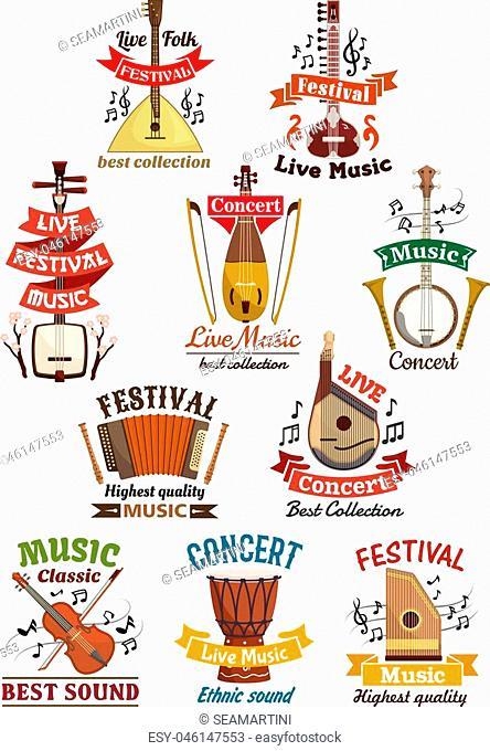 Musical instruments icons. Balalaika, oriental koto or biwa, banjo, lute, harmonica accordion, flute and violin, music note clef, ethnic drum, bandura