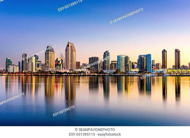 San Diego, California, USA downtown skyline at the Embarcadero