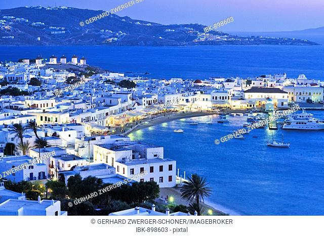 Harbour of Mykonos in the evening, sea front, Cyclades, Greece, Europe
