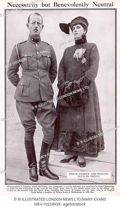 Prince Andrew of Greece pictured in uniform with his wife, Alice. He was in Command of the Greek Second Army Corps at the Battle of Sakaria