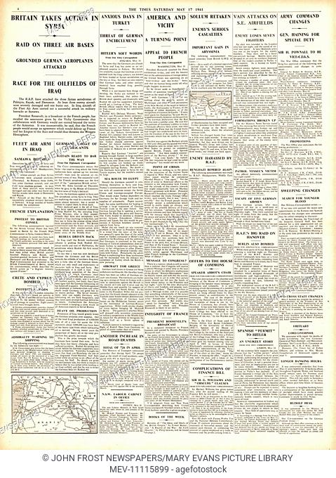 1941 page 4 The Times RAF bomb air bases in Syria