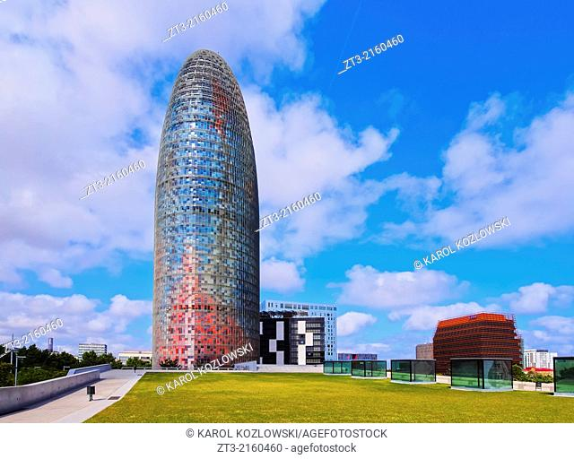 Torre Agbar designed by famous architect Jean Nouvel in Barcelona, Catalonia, Spain
