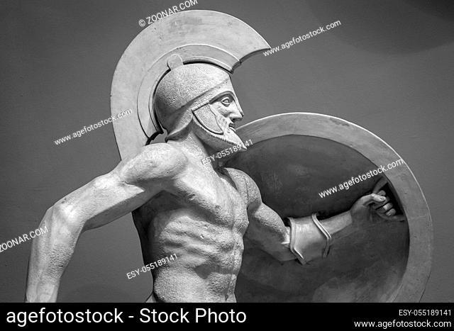 Head in helmet Greek ancient sculpture of warrior