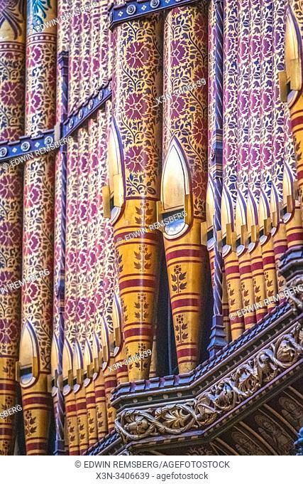 The ornate grand organ within Durham Cathedral, Durham, United Kingdom
