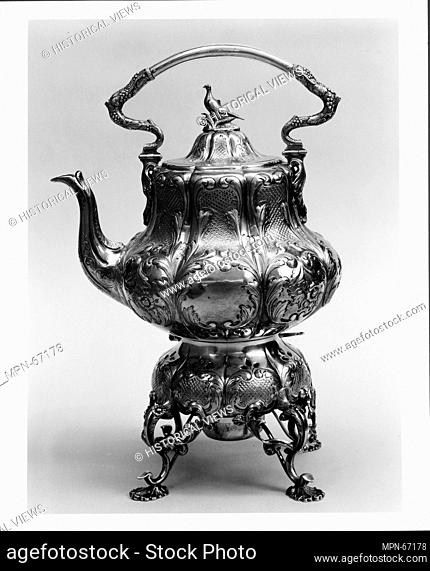 Teakettle, Burner, and Stand. Retailer: Ball, Tompkins and Black (active 1839-51); Maker: Charters, Cann & Dunn (active 1848-1854); Date: 1848-51; Geography:...