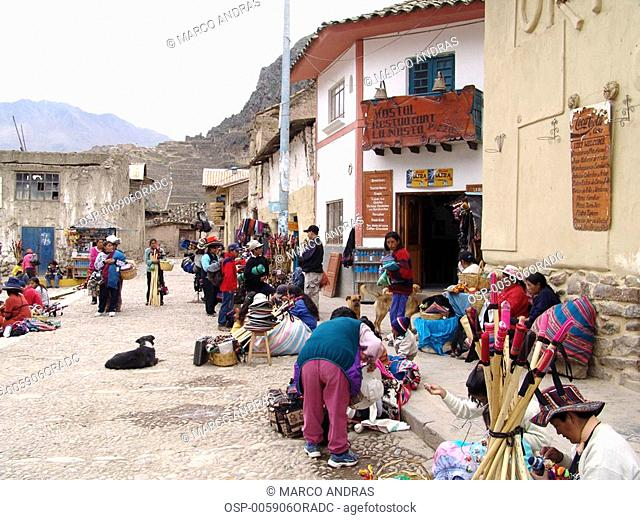 some peruvian people at the streets