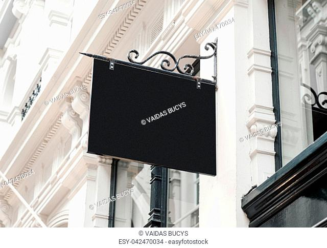 Classic style blank hanging company wall signboard mockup to add business logo, sign or name
