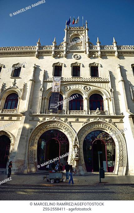 Rossio Lisbon central station, main entrance. Lisbon. Portugal. Europe