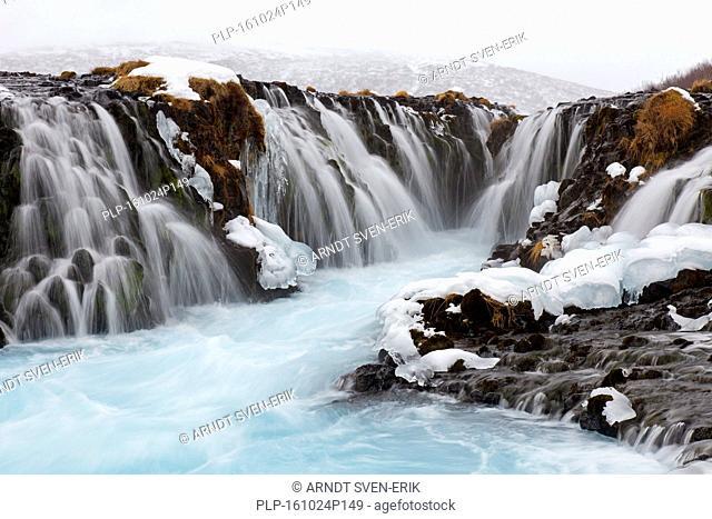Bruarfoss waterfall in winter, Iceland