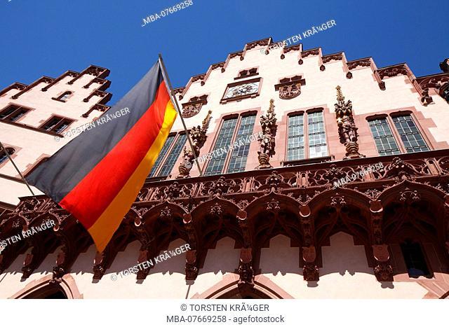 City hall Römer with German flag, Frankfurt am Main, Hesse, Germany, Europe