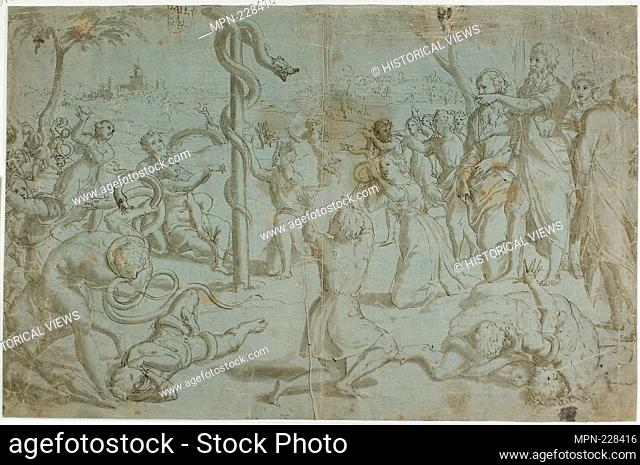 Moses and the Brazen Serpent (recto); Ornamental Base (verso) - 1530 (recto); 1600/99 (verso) - Recto attributed to Tommaso Vincidor (Italian, died c