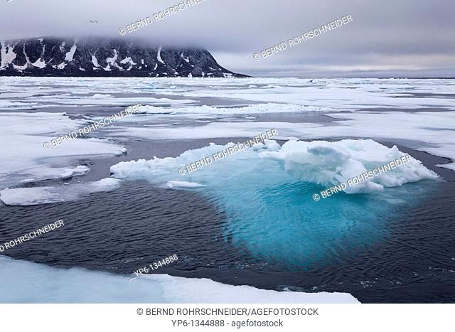 arctic landscape with ice floes in Arctic Sea and mountains, Spitsbergen, Svalbard