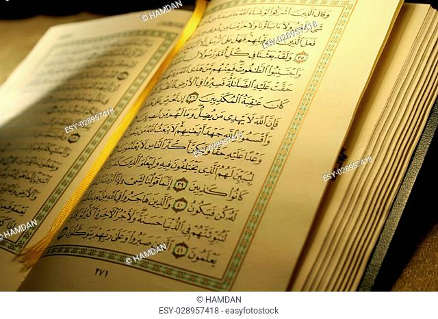 Open book pages of Holy koran
